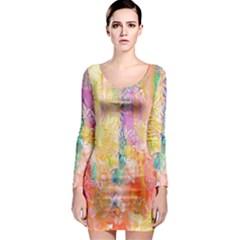 Watercolour Watercolor Paint Ink  Long Sleeve Bodycon Dress