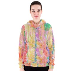 Watercolour Watercolor Paint Ink  Women s Zipper Hoodie