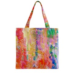 Watercolour Watercolor Paint Ink  Zipper Grocery Tote Bag