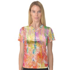 Watercolour Watercolor Paint Ink  Women s V-Neck Sport Mesh Tee
