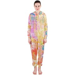 Watercolour Watercolor Paint Ink  Hooded Jumpsuit (Ladies)