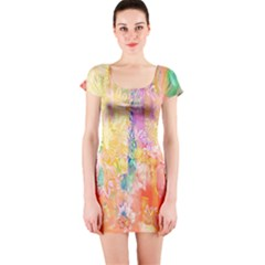 Watercolour Watercolor Paint Ink  Short Sleeve Bodycon Dress