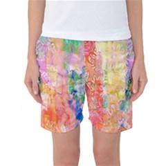 Watercolour Watercolor Paint Ink  Women s Basketball Shorts