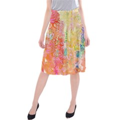 Watercolour Watercolor Paint Ink  Midi Beach Skirt