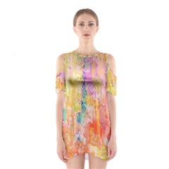 Watercolour Watercolor Paint Ink  Shoulder Cutout One Piece