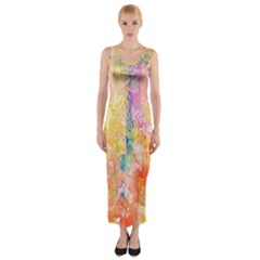 Watercolour Watercolor Paint Ink  Fitted Maxi Dress