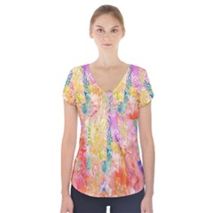Watercolour Watercolor Paint Ink  Short Sleeve Front Detail Top
