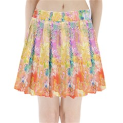 Watercolour Watercolor Paint Ink  Pleated Mini Skirt