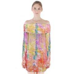 Watercolour Watercolor Paint Ink  Long Sleeve Off Shoulder Dress
