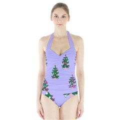 Watercolour Paint Dripping Ink  Halter Swimsuit