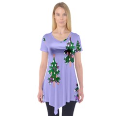 Watercolour Paint Dripping Ink  Short Sleeve Tunic