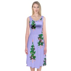 Watercolour Paint Dripping Ink  Midi Sleeveless Dress