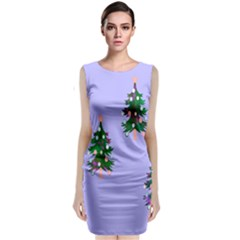 Watercolour Paint Dripping Ink  Classic Sleeveless Midi Dress
