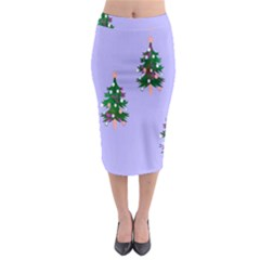 Watercolour Paint Dripping Ink  Midi Pencil Skirt