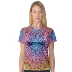 Tile Background Pattern Texture Women s V Neck Sport Mesh Tee