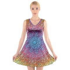 Tile Background Pattern Texture V Neck Sleeveless Skater Dress