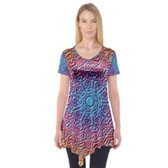 Tile Background Pattern Texture Short Sleeve Tunic