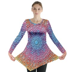 Tile Background Pattern Texture Long Sleeve Tunic