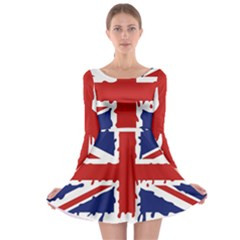 Uk Splat Flag Long Sleeve Skater Dress