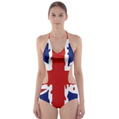 Uk Splat Flag Cut Out One Piece Swimsuit
