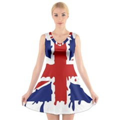 Uk Splat Flag V-Neck Sleeveless Skater Dress
