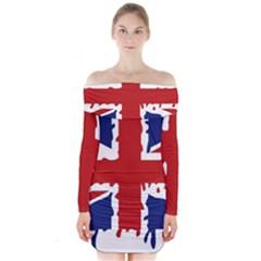 Uk Splat Flag Long Sleeve Off Shoulder Dress