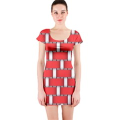 Weave And Knit Pattern Seamless Background Wallpaper Short Sleeve Bodycon Dress
