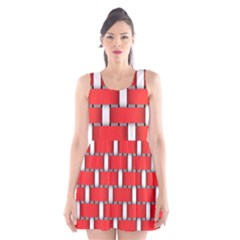 Weave And Knit Pattern Seamless Background Wallpaper Scoop Neck Skater Dress