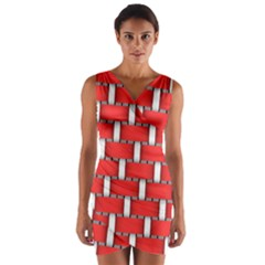 Weave And Knit Pattern Seamless Background Wallpaper Wrap Front Bodycon Dress