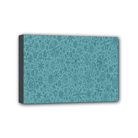 White Noise Snow Blue Mini Canvas 6  x 4