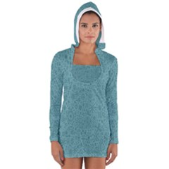 White Noise Snow Blue Women s Long Sleeve Hooded T-shirt