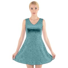 White Noise Snow Blue V-Neck Sleeveless Skater Dress