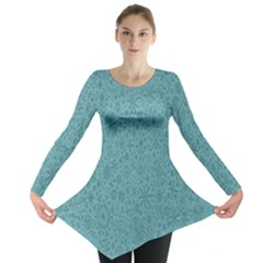 White Noise Snow Blue Long Sleeve Tunic