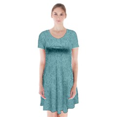 White Noise Snow Blue Short Sleeve V Neck Flare Dress