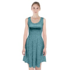 White Noise Snow Blue Racerback Midi Dress