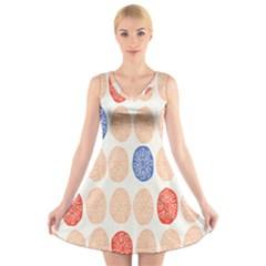 Wheel Circle Red Blue V-Neck Sleeveless Skater Dress