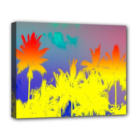 Tropical Cool Coconut Tree Deluxe Canvas 20  x 16