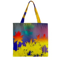 Tropical Cool Coconut Tree Zipper Grocery Tote Bag