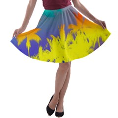 Tropical Cool Coconut Tree A-line Skater Skirt