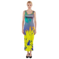 Tropical Cool Coconut Tree Fitted Maxi Dress