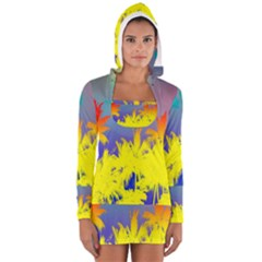 Tropical Cool Coconut Tree Women s Long Sleeve Hooded T-shirt