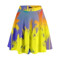 Tropical Cool Coconut Tree High Waist Skirt