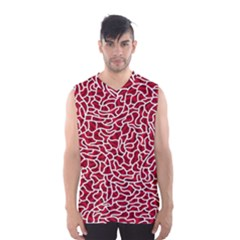 Tangled Thread Red White Men s Basketball Tank Top