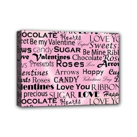 Valentine Love Heart Roses Sweet Pink Mini Canvas 7  x 5