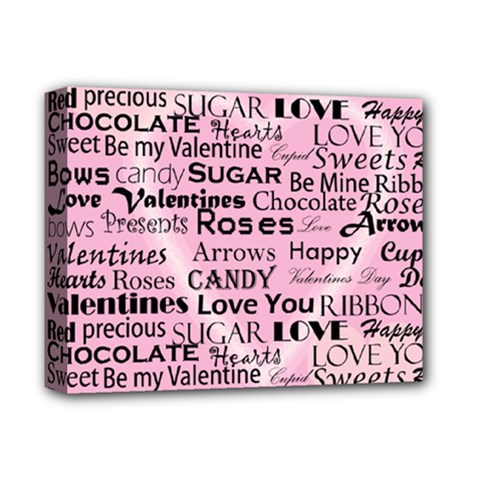 Valentine Love Heart Roses Sweet Pink Deluxe Canvas 14  x 11