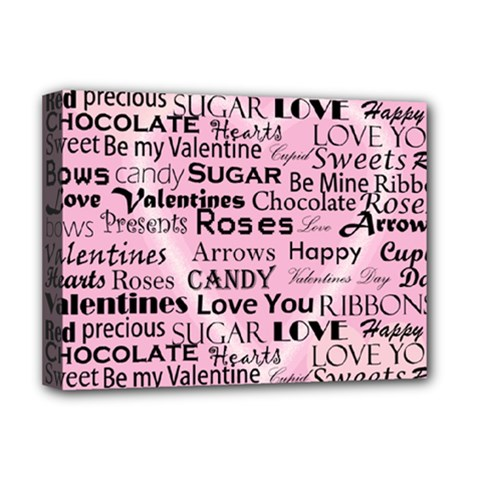 Valentine Love Heart Roses Sweet Pink Deluxe Canvas 16  x 12