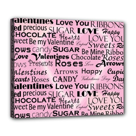 Valentine Love Heart Roses Sweet Pink Deluxe Canvas 24  x 20