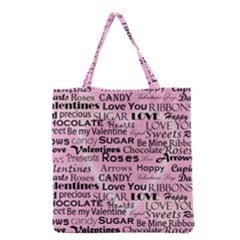 Valentine Love Heart Roses Sweet Pink Grocery Tote Bag