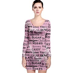 Valentine Love Heart Roses Sweet Pink Long Sleeve Bodycon Dress