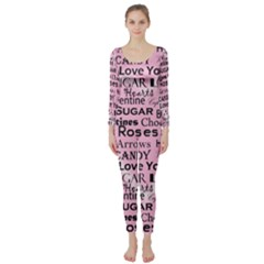 Valentine Love Heart Roses Sweet Pink Long Sleeve Catsuit